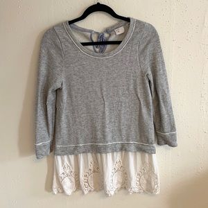 Postmark Lace Eyelet Skirt Grey Pullover Sweater